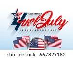 typographic design of 4th of... | Shutterstock .eps vector #667829182