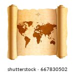 realistic ancient world map on... | Shutterstock .eps vector #667830502
