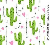 cute cactus seamless pattern... | Shutterstock .eps vector #667834732