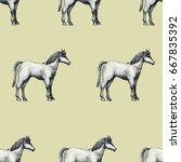 horse  vintage vector seamless...   Shutterstock .eps vector #667835392