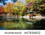 korean pavilion in fall season... | Shutterstock . vector #667836832