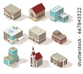 city buildings isometric icons... | Shutterstock .eps vector #667843522