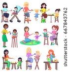 feeding baby illustration.... | Shutterstock . vector #667843762