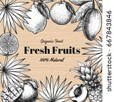 vector frame with fruits  .... | Shutterstock .eps vector #667843846