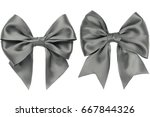 Two Gift Gray Bow With Tails O...