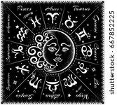 zodiac signs  horoscope  vector ... | Shutterstock .eps vector #667852225
