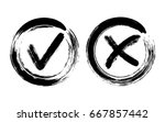 painted black symbolic ok and x ... | Shutterstock .eps vector #667857442
