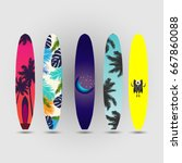 surfboard summer set | Shutterstock .eps vector #667860088