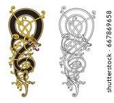 celtic  scandinavian vintage... | Shutterstock .eps vector #667869658