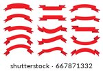 ribbon banner set.vector red... | Shutterstock .eps vector #667871332