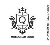 monogram logo template with... | Shutterstock .eps vector #667873006