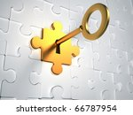 Golden Key And Puzzle Pieces  ...