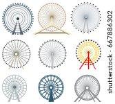 vector set of isolated ferris... | Shutterstock .eps vector #667886302