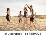 group of friends having fun and ... | Shutterstock . vector #667889026
