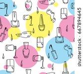nail polish hand drawn doodles...   Shutterstock .eps vector #667894645