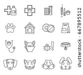 linear icons set of... | Shutterstock .eps vector #667895512