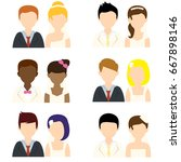 wedding people flat icons | Shutterstock .eps vector #667898146