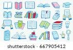 set of book doodles | Shutterstock .eps vector #667905412