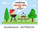 invitation card on the barbecue.... | Shutterstock .eps vector #667906126