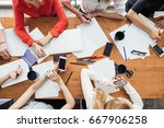business people analyzing... | Shutterstock . vector #667906258