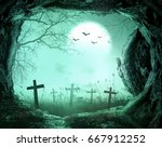 graveyard and tomb empty at... | Shutterstock . vector #667912252