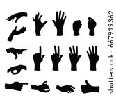 Set Of Black Silhouette Hands...