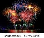 beautiful firework display on...   Shutterstock . vector #667926346