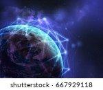 global network over the world... | Shutterstock . vector #667929118