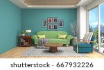 interior living room. 3d... | Shutterstock . vector #667932226