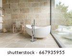 bathroom with big window and... | Shutterstock . vector #667935955