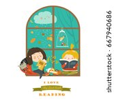 cute girls reading book by the... | Shutterstock .eps vector #667940686