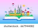 europe   modern line travel... | Shutterstock . vector #667944082