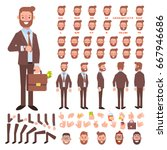 Front, side, back view animated character. Business man character creation set with various views, hairstyles, face emotions, poses and gestures. Cartoon style, flat vector illustration.   Shutterstock vector #667946686