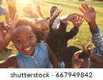 elementary school kids outdoors ... | Shutterstock . vector #667949842