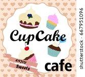 vintage cupcake poster design...   Shutterstock .eps vector #667951096