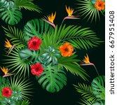 seamless botanical exotic... | Shutterstock .eps vector #667951408