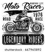 vintage motorcycle t shirt... | Shutterstock .eps vector #667965892