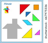 chinese puzzle tangram. cut and ... | Shutterstock .eps vector #667975336