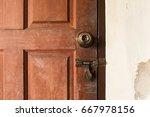 detail of metallic door handle... | Shutterstock . vector #667978156