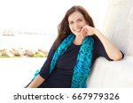 beautiful confident stewardess... | Shutterstock . vector #667979326