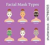 set of facial masks types. girl ... | Shutterstock .eps vector #667980505