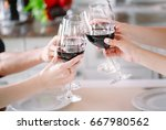 young people in a restaurant... | Shutterstock . vector #667980562