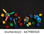 colorful plastic bricks  cars... | Shutterstock . vector #667980565