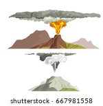 volcano magma nature blowing up ...   Shutterstock .eps vector #667981558