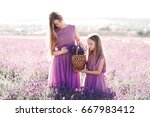 two blonde girls 14 16 and 4 5... | Shutterstock . vector #667983412