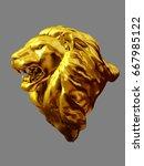 golden figurine of a lions head ...   Shutterstock . vector #667985122