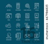 set of thin line modern icons.... | Shutterstock .eps vector #667986835