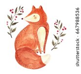 watercolor artwork with cute... | Shutterstock . vector #667988536