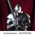knight and blue and red velvet | Shutterstock . vector #667993396