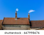 Chimney Roof Line With Moon An...